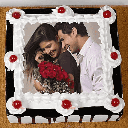 black forest square photo cake front