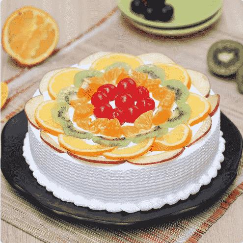 fruit cake design front side view